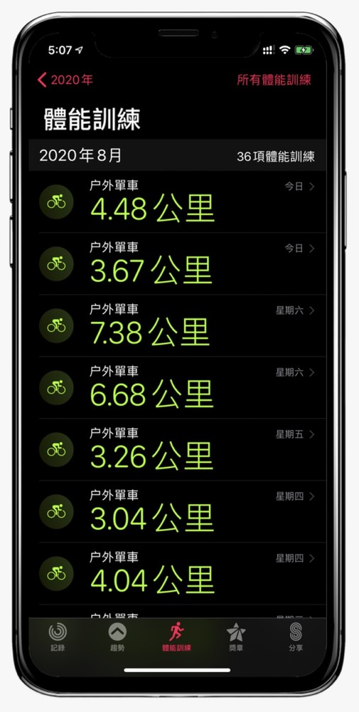 Apple Watch鍐呯疆澶ч噺浣撹兘璁粌