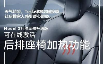 仅2400元 特斯拉Model 3可OTA升级后排座椅加热功能