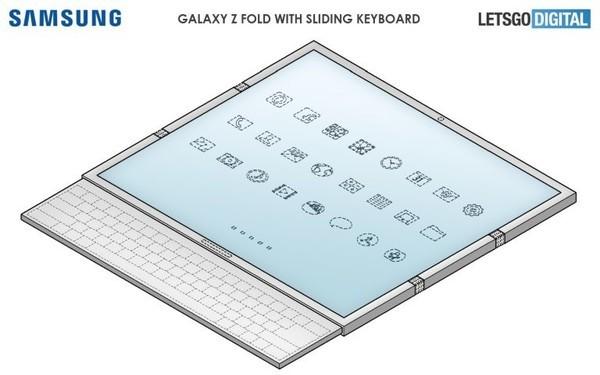 惊!三星全新折叠屏手机外观专利公布 配备滑出式键盘