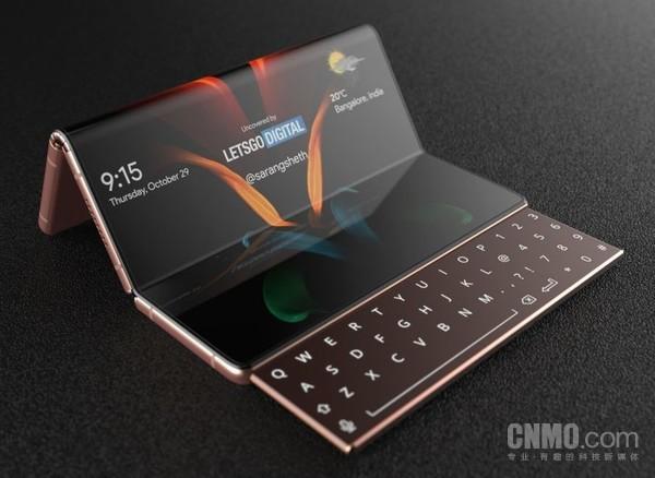惊!三星全新折叠屏手机外观专利发布 配备滑出式键盘