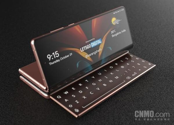 怒!三星全新拉链屏手机外观专利发布 配有卡住式键盘