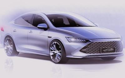 比亚迪全新轿车手绘图流出 官方将其命名为秦PLUS