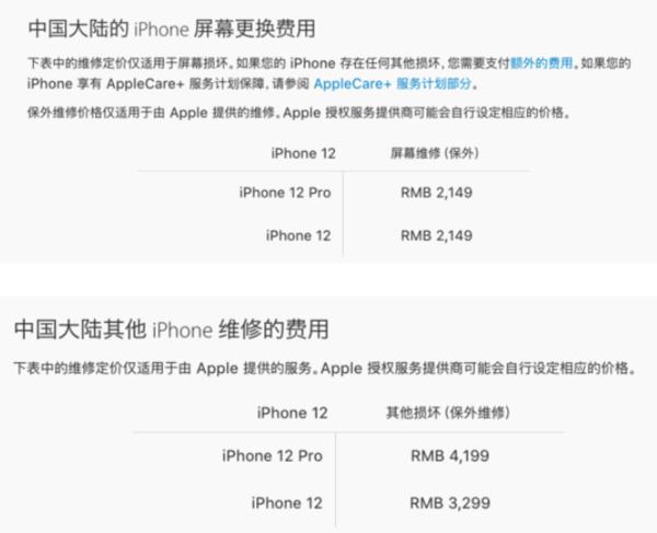iPhone 12系列保外维修价格