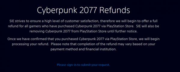 索尼下架赛博朋克2077  将为已购玩家全额退款