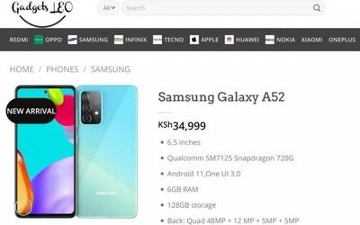 三星Galaxy A52提前现身肯尼亚购物网站 价格同步曝光