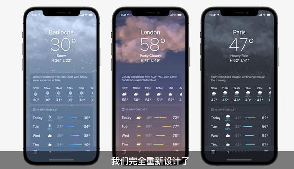 苹果iOS 15更新天气App